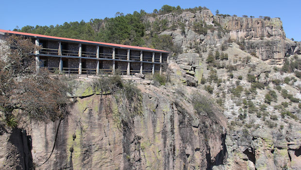 Hotel Divisadero is perched dramatically on a cliff in Mexico's Copper Canyon.