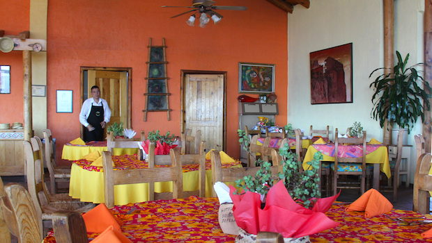 The dining room serves three meals at day at Hotel Divisadero in Mexico's Copper Canyon.