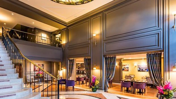 The grand staircase is a lovely design element in the lobby of the Sofitel Victoria Regia hotel.