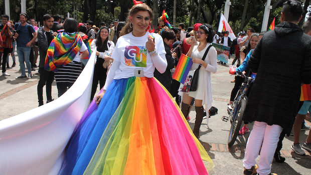 Rainbow colors worked their way into wardrobes during LGBT pride in Bogota.