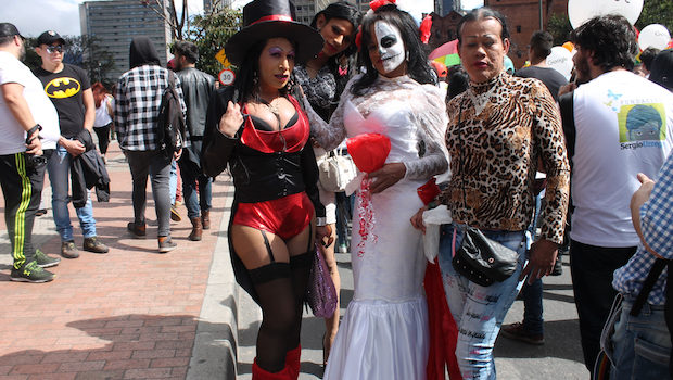 Interesting costumes at the LGBT pride event in Bogota, Colombia.