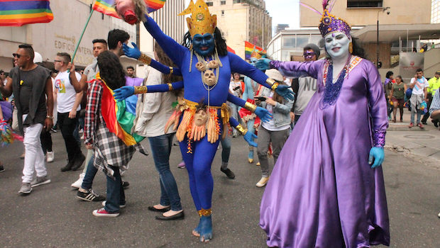 Creative costumes at the LGBT pride event in Bogota, Colombia.