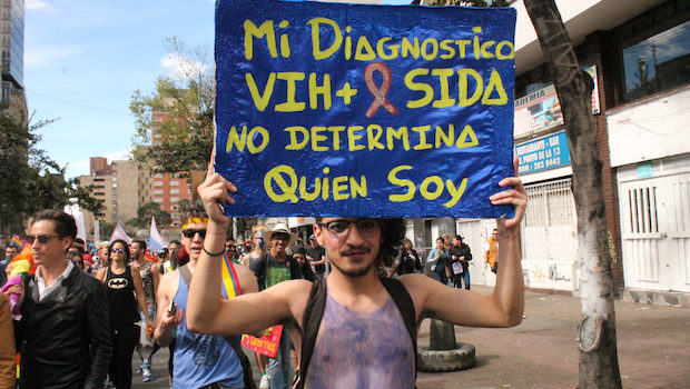 """My HIV positive diagnosis doesn't determine who I am."" — Bogota pride."