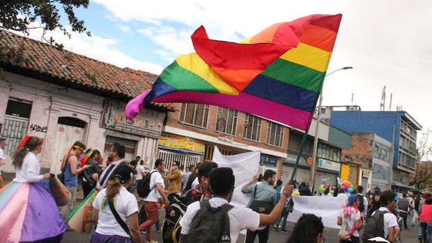 The rainbow flag makes many appearances at LGBT pride in Bogota.