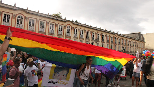 The rainbow flag arrives downtown during LGBT pride in Bogota, Colombia.