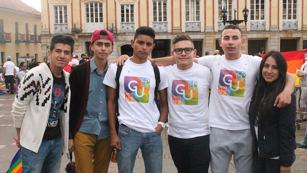 Students and other participants at gay pride in Bogota, Colombia.
