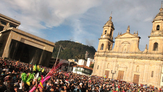 Thousands of participants gathered for gay pride in Bogota, Colombia.