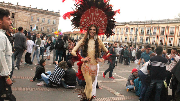 Yet another lovely outfit at Bogota's LGBT pride parade.