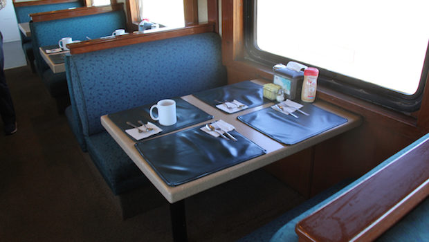 Dining car aboard the Chepe train in Mexico's Copper Canyon.
