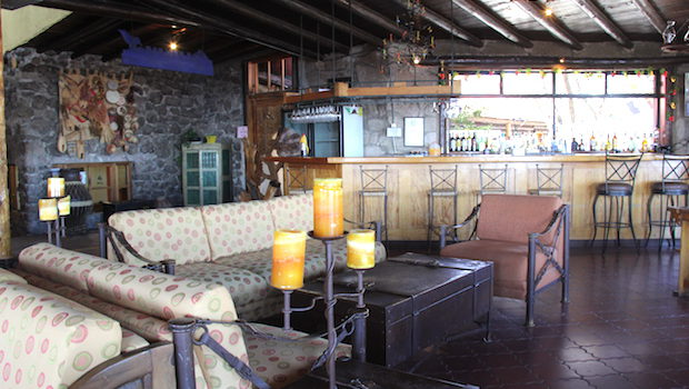 The bar and lounge at Hotel Divisadero in Mexico's Copper Canyon.