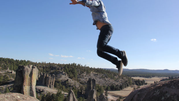 Jumping for joy in Mexico's Copper Canyon.