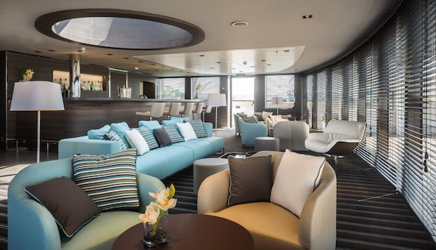 A lounge aboard the Ponant Le Soleal cruise ship.
