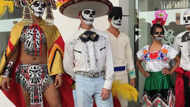 Day of the Dead costumes at Marina El Cid hotel in Mazatlan.