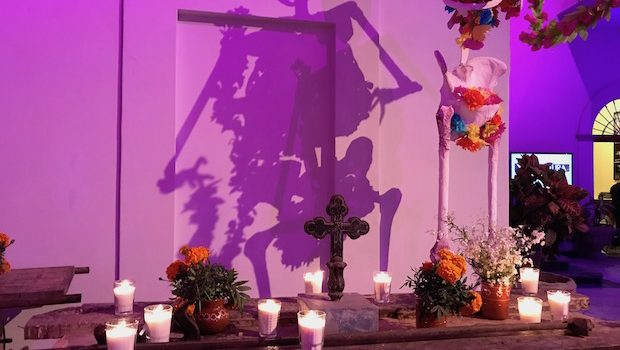 A Dia de los Muertos altar at the Angela Peralta theater in Mazatlan, Mexico.