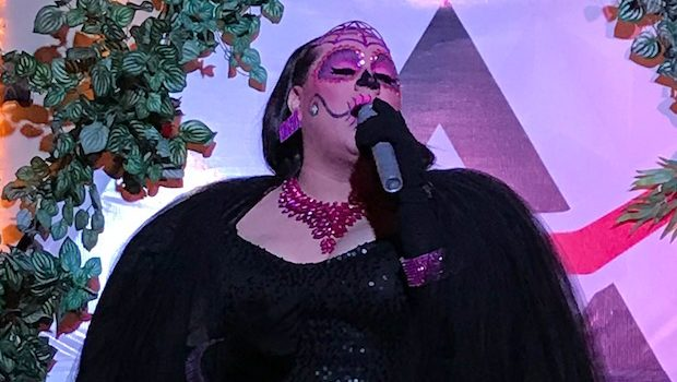 A drag queen performs in Dia de los Muertos garb at PP Club in Mazatlan.